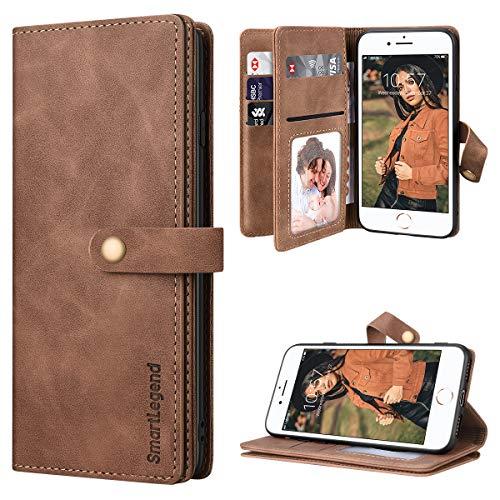 SmartLegend per Cover iPhone SE 2020 Pelle Premium con 8 Porta Carte, Custodia iPhone 8/ iPhone 7 Portafoglio Cover Libro iPhone 7/8/SE 2020 Magnetica Flip Silicone Bumper - Marrone