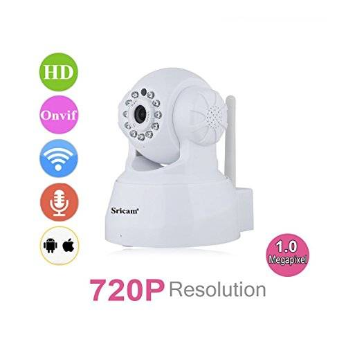 Sricam SP012 Videocamera di Sorveglianza - 720P HD Wireless IP Camera, H.264 PT ONVIF, Infrarossi, Visione Notturna, Rilevamento Del Movimento, Pan/Tilt, Allarme Email, Supporto MicroSD, Bianco