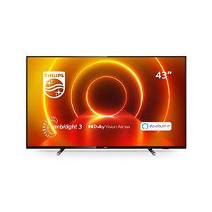 Philips TV LED Philips 43PUS7805/12 43 pollici con Ambilight e Alexa integrata (4K UHD LED TV, HDR10+, Dolby Vision, Dolby Atmos, Smart TV)  color nero (modello 2020/2021) [Classe Energetica A]