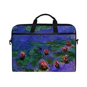 Ahomy rosso di Monet water-lilies dipinti a olio 1439,1cm multifunzionale tessuto impermeabile di custodia valigetta borsa a tracolla messenger bag