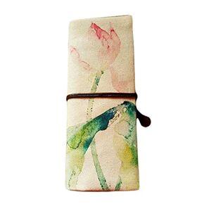 Panda [Lotus] Zakka Cosmetic Pencil Pouch Lino Pen Case Roll up Astuccio portamatite