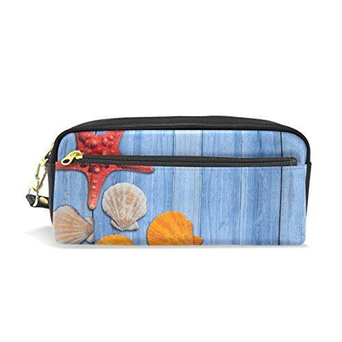 eslifey starfish and shells, astuccio portatile in pelle pu per la scuola, portapenne, cancelleria, per bambini, impermeabile, trousse per trucchi