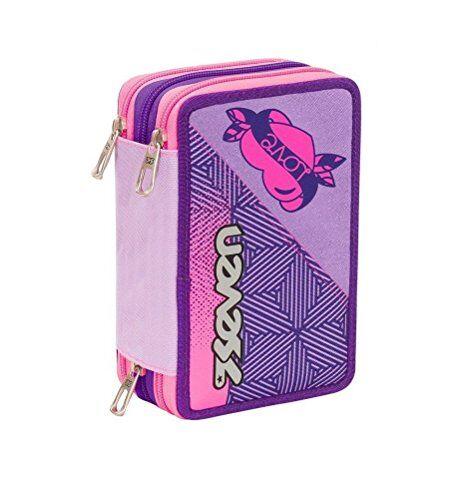 astuccio scuola rebel girl 3 piani completo zip + omaggio penna glitterata + omaggio segnalibro