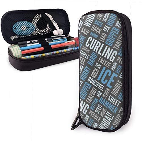 nr astuccio per matite in pelle di grande capacità lingo arricciacapelli, custodia multi-funzione borsa con cerniera borsa per ufficio di cancelleria per studenti