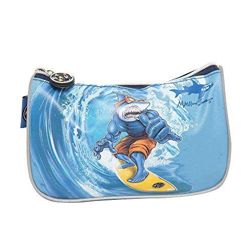maui and sons astuccio scuola maui 1 zip squalo shark blu azzurro