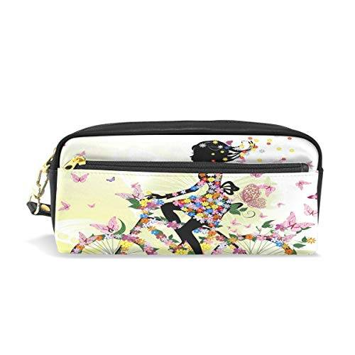 Funnyy PU zipper Pencil bag, floreale fiore farfalla bici ragazza matita penna caso sacchetto trucco trousse per Kid per bambini scuola donne
