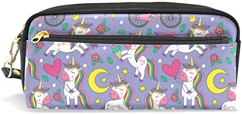 maymer Astuccio a forma di unicorno, arcobaleno, per bici, luna, in similpelle, per penne e trucchi, per studenti o donne