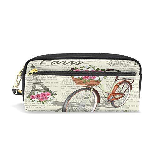Funnyy PU zipper Pencil bag, vintage torre Eiffel floreale bici penna di matita trucco sacchetto per Kid per bambini scuola donne