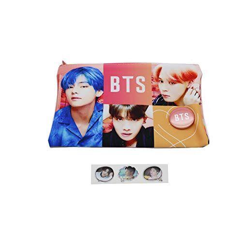 BTS Astuccio portapenne con stampa di foto di gruppo Kpop BTS, con spilla con bottone a pressione e adesivo in resina epossidica