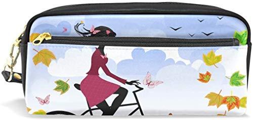 maymer Astuccio portamatite autunno ragazza bici PU pelle Pen Pouch Walle Makeup Trousse di studenti o donne