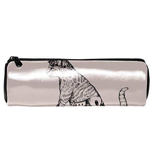 TIZORAX Astucci per matite TIZORAX Gatto punk in sella a una borsa per penne da bici Custodia cosmetica per trucco per donne Ragazzi