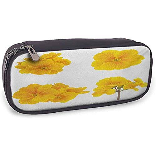 KW-Wosn Astuccio per le matite Fiore giallo protettivo Collezione a tema giardinaggio con fiori di primula tenera tenera; senape