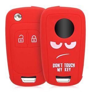 kwmobile Cover chiave compatibile con Opel Chevrolet con 2 tasti pieghevole - Guscio protettivo coprichiave morbido silicone TPU - Don't touch my Key bianco/rosso