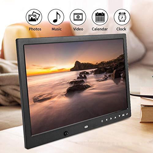 Garsent Cornice Digitale, 13 Pollici Portatile 1080P HD Photo Frame elettronico con Sveglia, Funzione Calendario Foto/Musica/Video Album Lettore di Film con Telecomando.(Black)