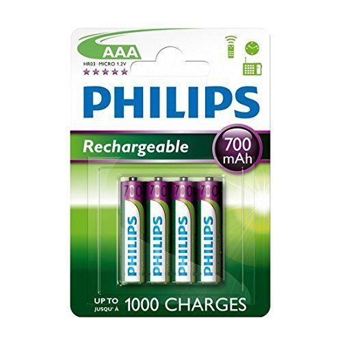 Philips 4 pile ricaricabili AAA Philips, 700 mAh, per BT 1500 1000 2000, 2,500 4000 4500
