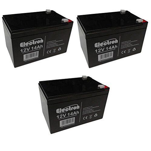 ELECTRON 3x Batteria ricaricabile al piombo 36V 12V 14Ah adatta per UPS allarmi solare, trazione elettrica monopattini bici max 250W