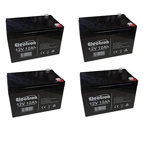 ELECTRON 4x Batterie ricaricabile al piombo 48V 12V 12Ah adatta per UPS allarmi solare, trazione elettrica monopattini bici max 250W