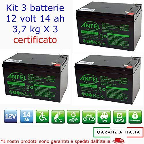 ANFEL KIT 3 BATTERIE AL PIOMBO RICARICABILE 12V 36V 14AH PER BICI BICICLETTE ELETTRICHE MONOPATTINI QUAD ELETTRICI TRAZIONE ELETTRICA CONNETTORI FASTON 6,35mm DEEP CYCLE 6-DZM-14 6DZM14