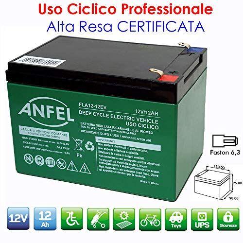 ANFEL BATTERIA AL PIOMBO RICARICABILE 12V 12AH CICLICA USO CICLICO PER BICI BICICLETTE ELETTRICHE MONOPATTINI QUAD ELETTRICI TRAZIONE ELETTRICA CONNETTORI FASTON 6,35mm DEEP CYCLE 6-DZM-12 6DZM12