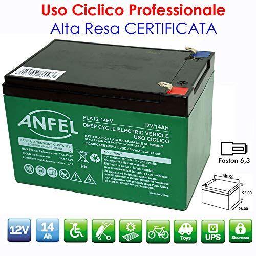 ANFEL BATTERIA AL PIOMBO RICARICABILE 12V 14AH CICLICA USO CICLICO PER BICI BICICLETTE ELETTRICHE MONOPATTINI QUAD ELETTRICI TRAZIONE ELETTRICA CONNETTORI FASTON 6,35mm DEEP CYCLE 6-DZM-12 6DZM12
