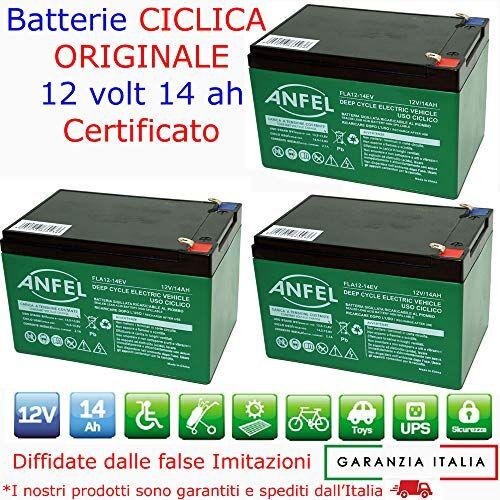 ANFEL KIT 3 BATTERIE AL PIOMBO RICARICABILE 12V 36V 14AH CICLICA BATTERIA USO CICLICO PER BICI BICICLETTE ELETTRICHE MONOPATTINI QUAD ELETTRICI CONNETTORI VITE OCCHIELLO FORCELLA DEEP CYCLE 6-DZM-14 6DZM14