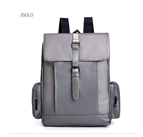 HNKHKJ Zaino per Laptop in Nylon Impermeabile 13,3 14 Pollici Moda Casual Uomo e Donna Notebook-Gold_14