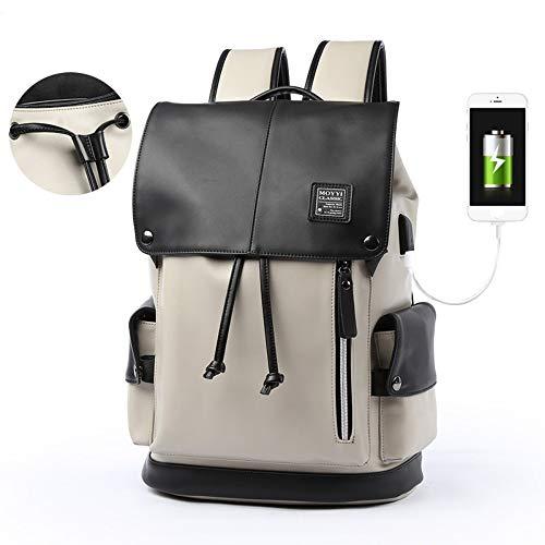 HXG Zaino per Notebook da 14 Pollici Impermeabile Borsa da Viaggio Moda Casual daUomo e Donna Zaino Grande capacit PU con Porta di Ricarica USB