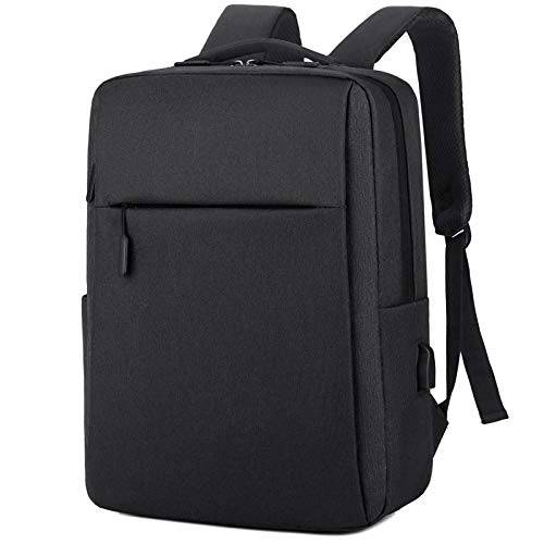 """Sconosciuto Zaino per Laptop Zaino per Laptop da 15.6""""in Nylon Antispruzzo Borsa da Uomo d'Affari Borsa da Scuola Borsa da Viaggio Moda Casual-Black_China_15_Inches"""