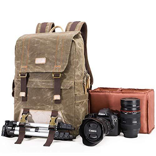 Baulanna YAOJU Zaino per Fotocamera, Fotocamera Borsa per Fotocamera Reflex Impermeabile Canvas Zaino per Fotocamera Digitale di Moda retr Zaino da Viaggio Multifunzione per DSLR e Accessori