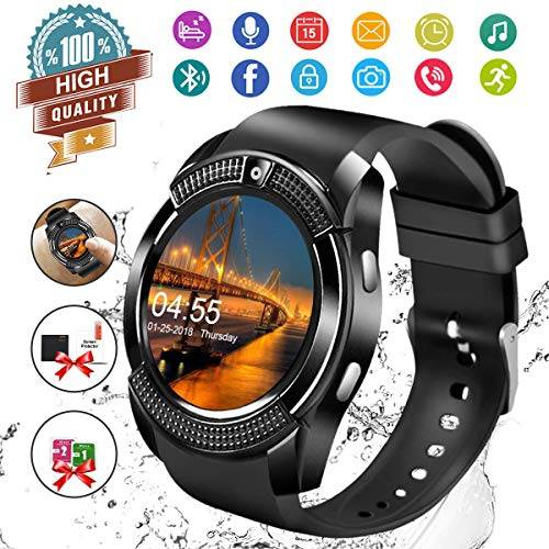 watozo smartwatch android,bluetooth smart watch telefono con sim card slot e fotocamera,orologio fitness sport android wear pedometer per donna uomo bambini per iphone samsung sony android ios smartphones