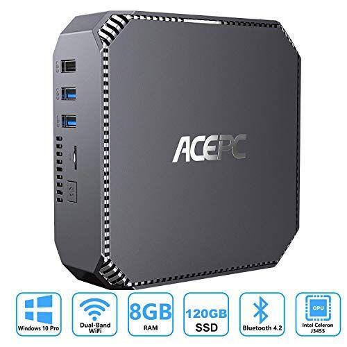 "ACEPC Mini PC Windows 10 Pro, ACEPC 8GB RAM / 120GB ROM Intel Celeron J3455 micro desktop computer, support 2.5""SSD/Dual HDMI /1000Mbps LAN/Dual Band WLAN/Bluetooth 4.2 / 4K HD/USB 3.0"