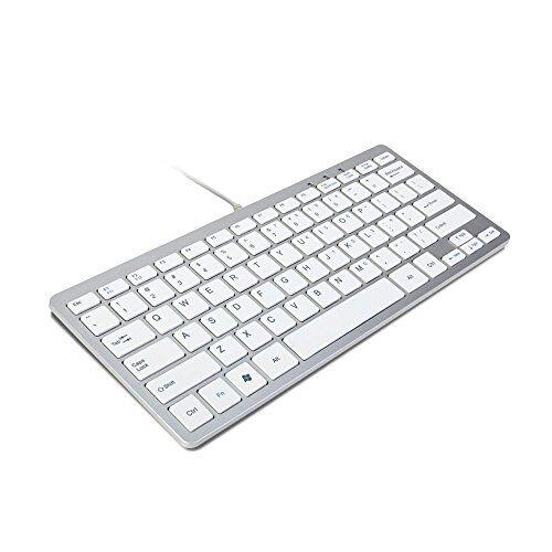 trixes mini tastiera con filo usb tastiera sottile argento e bianco - plug and play - compatta e resistente - adatta per pc, computer, apple, mac, laptop, window, ecc.