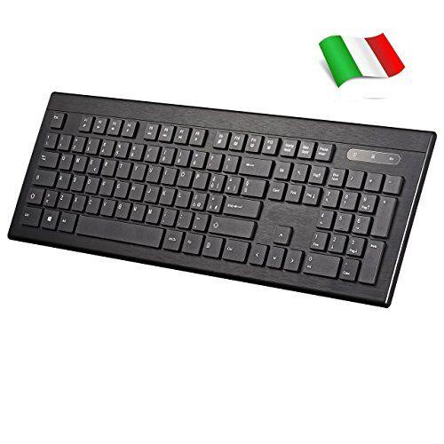 TOPELEK Tastiera Wireless Italiana Ultrasottile, Keyboard Italiano Silenzioso Design Ergonomico, Senza Fili con 104 Tasti QWERTY per Windows XP/7/8/10, Vista e Mac