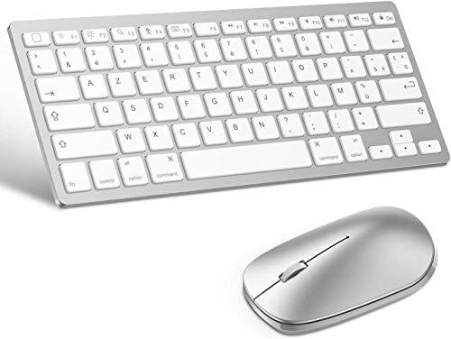 OMOTON - Mouse wireless per iPad Pro 11/12.9 2020 AZERTY, tastiera Bluetooth francese, ultra sottile per tutti gli iPad iPhone IOS13, colore: Bianco (mouse compatibile con computer iOS/Android)