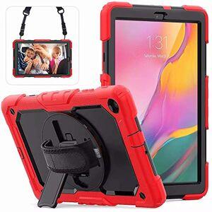 iChicTec - Custodia per Samsung Galaxy Tab A 10.1 Pollici 2019 SM-T510/T515, Tracolla Regolabile a 360 Gradi, cavalletto Integrato a 3 Strati Rosso e Nero.