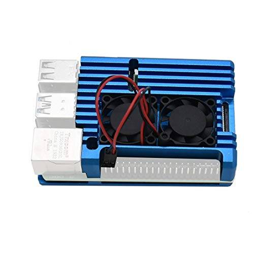 jmt - dissipatore di calore a doppia ventola con custodia in alluminio per raspberry pi 2b/3b/3b plus blu con doppia ventola