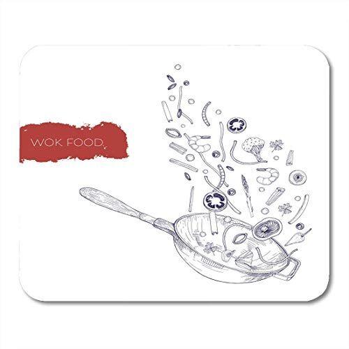 yaoni tappetini per mouse disegno realistico monocromatico di wok pan e verdure funghi tagliatelle spezie friggere e lanciare tappetino per mouse per notebook, computer desktop forniture per ufficio