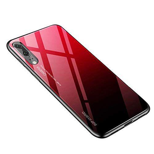 YHWW Cabina telefonica,Custodia Protettiva in Vetro temperato per Huawei P30 P20 P10 Cover Posteriore Protettiva Custodia Protettiva per Mate 20x, Rosso, p40lite