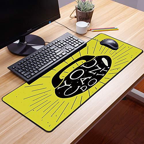 shengda tappetino mouse gaming,fitness, peso kettlebell figura disegnata a mano con te puoi farlo messag,base in gomma antiscivolo, lavabile, tappetino scrivania supporto per ufficio computer, tastiera pc gaming60x35cm