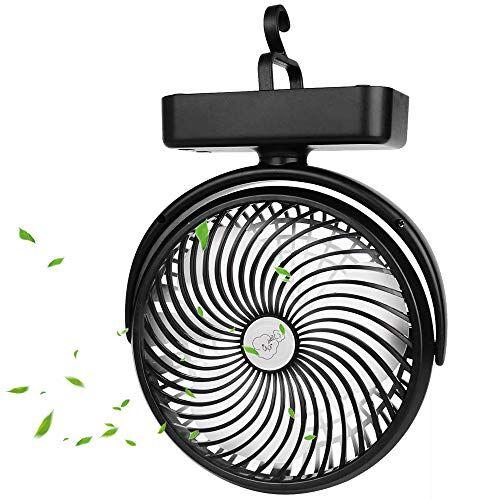bonbell ventilatore da campeggio, portatile ventilatore usb, ventilatore da tavolo con luce led, 5000mah, 3 velocit rotazione 360 mini ventilatore personale per casa, esterno, ufficio, campeggio