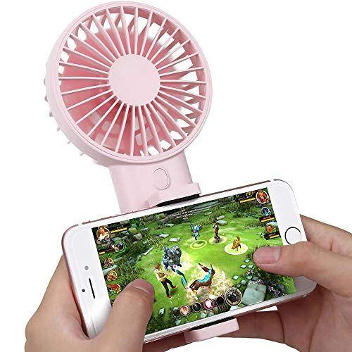 n/b mini ventilatore portatile con supporto per telefono cellulare, ventilatore da tavolo portatile da tavolo, ventilatore elettrico pieghevole con ricarica usb a vento forte a 3 velocit rosa