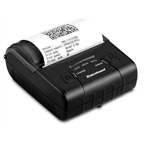 Excelvan E300 Stampante Termica Portabile 80mm Bluetooth Wireless per Android Windows, Nero