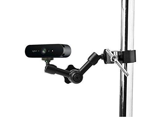 AYIZON webcam Mount, ganasce morsetto braccio supporto per Logitech webcam Brio 4K, C925E, C922x, C922, C930E, C930, C920, C615-17,8cm lunghezza