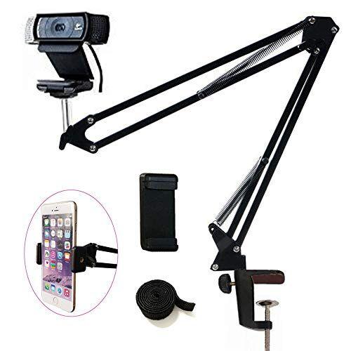 Tencro - Supporto a Forbice per Webcam, Supporto per Fotocamera, treppiedi per cellulari, Logitech Webcam C920 C930 C922 C615 e Altri dispositivi con Filettatura da 1/4