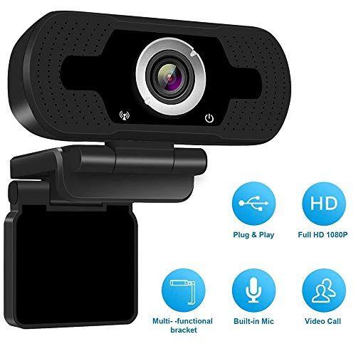 Lushforest 1080P Hd Webcam con microfono, Videocamera Full Hd 1080p / 30fps Videocamera Web, Videocamera Pro con Plug & Play USB per Skype, Conferenza di classe dal vivo, YouTube, Pc / Mac / Laptop