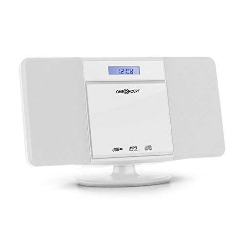 oneconcept v-13 - smart compact line , mini impianto stereo , impianto stereo compatto , schermo lcd , multiconnettivo , lettore cd , sintonizzatore radio fm , mp3/usb , allarme sveglia , colorbianco