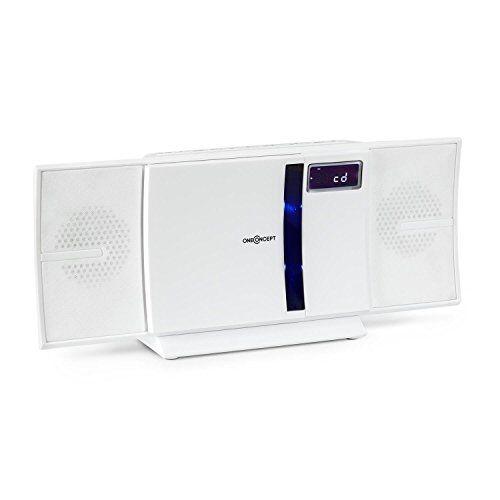 oneconcept v-16-bt - sistema stereo, compatto, mini-sistema, lettore cd con mp3, radio fm, porta usb con mp3, programmabile, schermo lcd, possibile montaggio a muro, bianco
