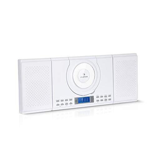 auna wallie microsystem - impianto stereo compatto, 2x10 watt rms, lettore cd, cd-r, cd-rw, fm, bluetooth, usb, telecomando, montaggio a parete, bianco