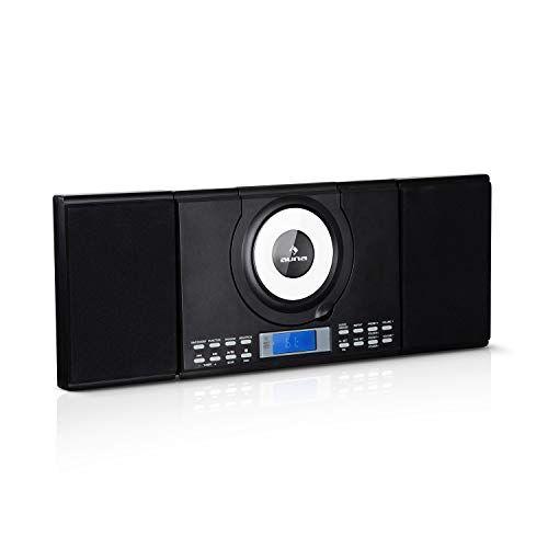 auna wallie microsystem - impianto stereo compatto, 2x10 watt rms, lettore cd, cd-r, cd-rw, fm, bluetooth, usb, telecomando, montaggio a parete, nero