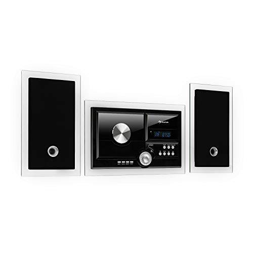 auna stereosonic - impianto stereo, impianto stereo compatto, montaggio a parete, lettore cd, porta usb, bluetooth, ingresso aux, telecomando, colore nero